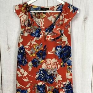 Style&Co Orange Multi-color Floral Sleeveless Top